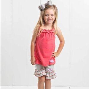 Ruffle Girl Matching Sets - Ruffle Girl Pink & Silver Ruffle Neck Short Set